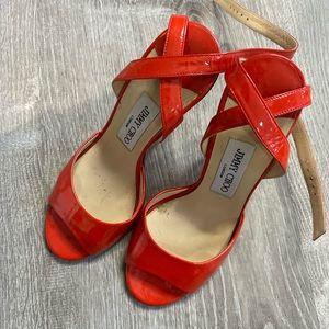 Jimmy Choo Patent Block Heel Strappy Sandal 35.5